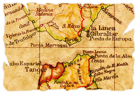 Strait of Gibraltar on an old torn map from 1949, isolated. Part of the old map series.