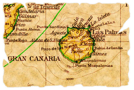 Gran Canaria, Canary Islands on an old torn map from 1949, isolated. Part of the old map series.