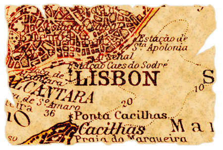 Lisbon, Portugal on an old torn map from 1949, isolated. Part of the old map series. Foto de archivo