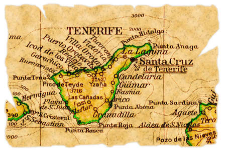 Tenerife, Canary Islands on an old torn map from 1949, isolated. Part of the old map series.