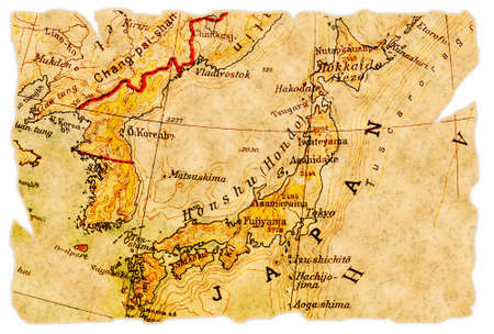 Japan on an old torn map from 1949, isolated. Part of the old map series. Stock Photo