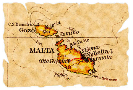 Malta on an old torn map from 1949, isolated. Part of the old map series.