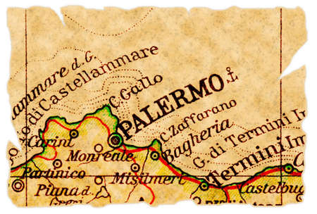 Palermo, Italy on an old torn map from 1949, isolated. Part of the old map series. photo
