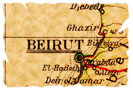 Beirut, capital of Lebanon on an old torn map from 1949, isolated. Part of the old map series.