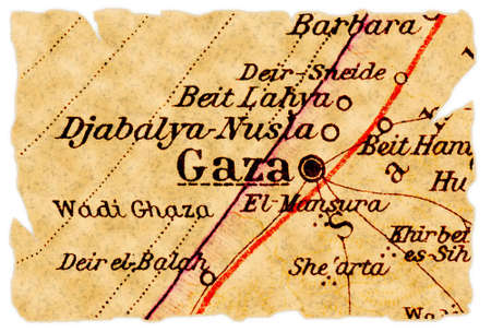 gaza: Gaza, Palestine on an old torn map from 1949, isolated. Part of the old map series.