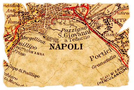 Naples or Napoli, Italy on an old torn map from 1949, isolated. Part of the old map series. Foto de archivo