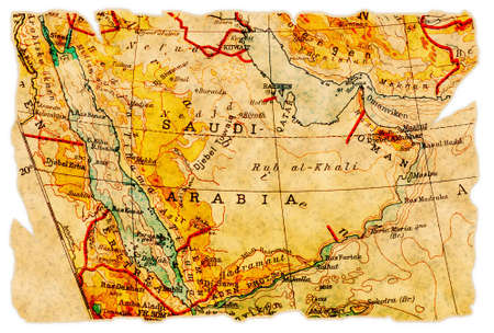 Saudi Arabia on an old torn map from 1949, isolated. Part of the old map series.