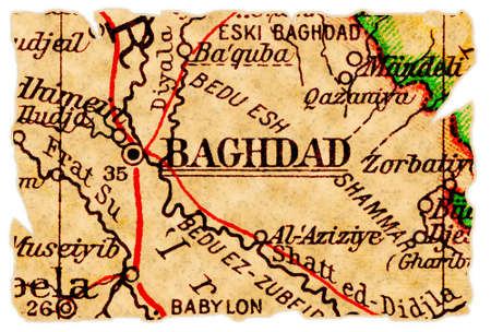 Baghdad, Iraq on an old torn map from 1949, isolated. Part of the old map series. Stock Photo