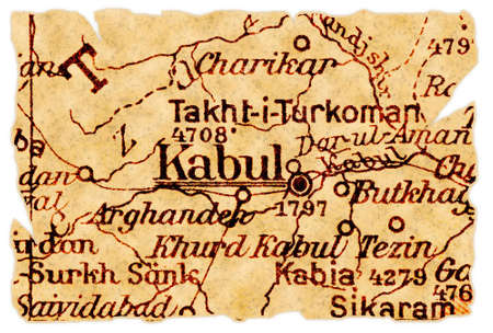 Kabul, capital of Afghanistan on an old torn map from 1949, isolated. Part of the old map series.