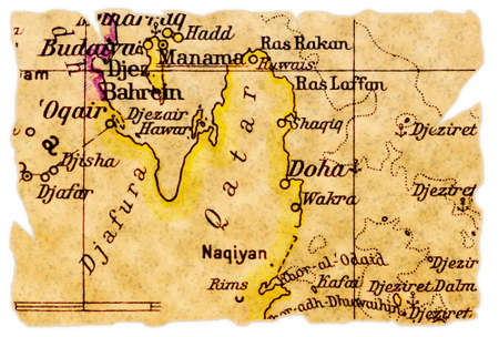 Qatar on an old torn map from 1949, isolated. Part of the old map series.
