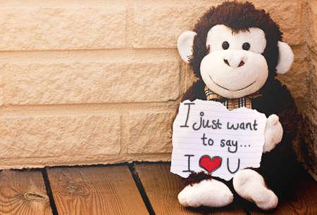 Una scimmia con il messaggio ti amo