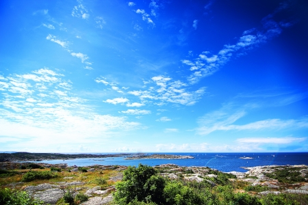 Beautiful sky over sea in the nordic archipelago Stock Photo