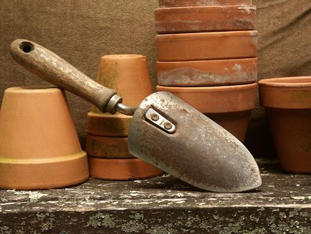 terra cotta: old garden trowel leaning against stacked terra cotta flower pots with olive green background