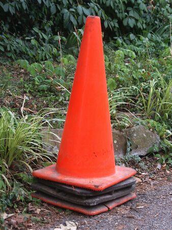 roadwork: orange construction cone before a leafy background