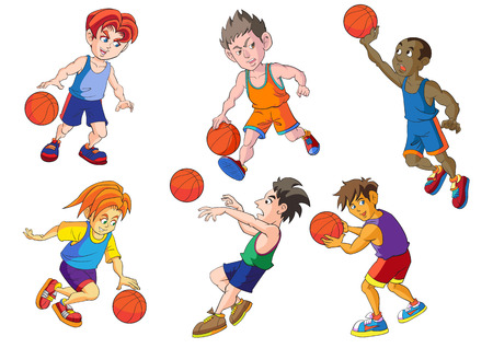 basketball dunk: Sport basketball cartoon vector designs Illustration