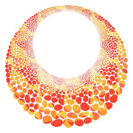 orange with yellow mosaic circle stones template