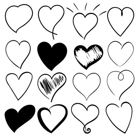 Hearts icons set, black hand-drawn hearts vector.