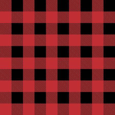 Roter und schwarzer Holzfällerbüffel kariertes nahtloses Vektormuster für Grafikdesign und Hintergründe