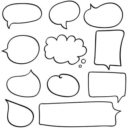 Dialog box icon, chat cartoon bubbles. Hand drawn set.