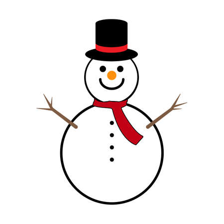 Snowman in a hat with hands made of branches. Vektorové ilustrace