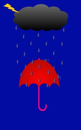 thundercloud: Illustrazione di temporale piove sul Red Umbrella Archivio Fotografico