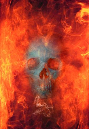 infierno: Cr�neo, envuelta en llamas Foto de archivo