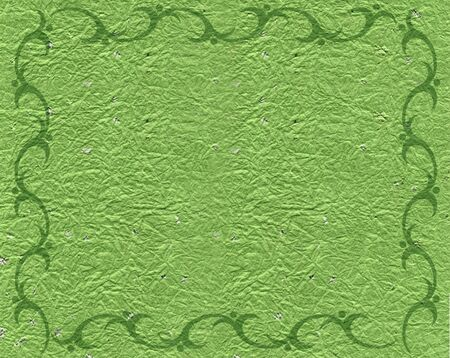 natureal: Green Scroll Border on Parchment Background