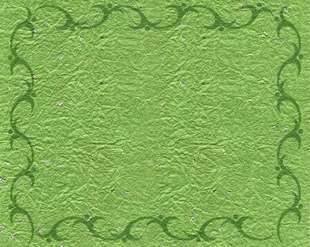 natureal: Verde Border Scroll su pergamena sfondo  Archivio Fotografico