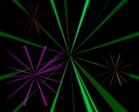 spokes: Abstract Background of green and purple radiating spokes on black background