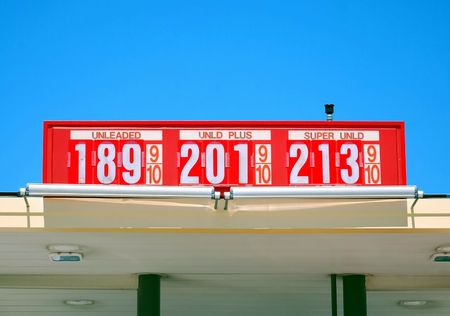 Gasoline prices on a bright red sign