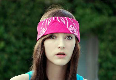 Beautiful Teen Girl Looking Unpleasantly Surprised