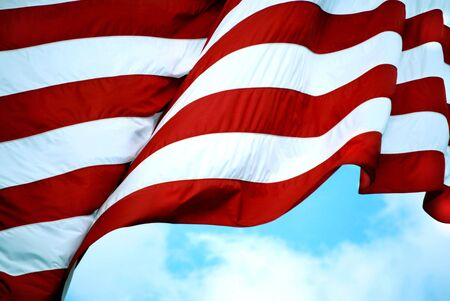 American flag stripes waving in the breeze Stock Photo