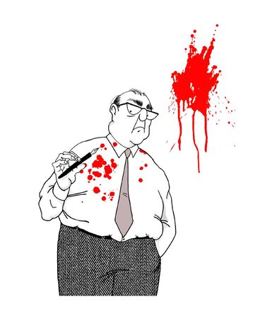 downsizing: Cartoon of Businessman Sprayed With Red Ink