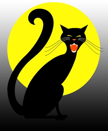 hissing: Black Halloween cat hissing in front of full moon