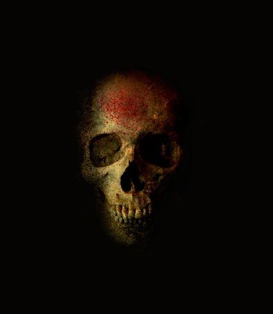 Scary Skull met bloed Spray Stockfoto