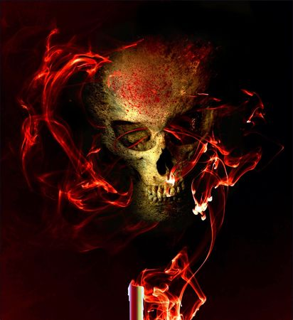 Eerie skull in smoky flames Stock Photo