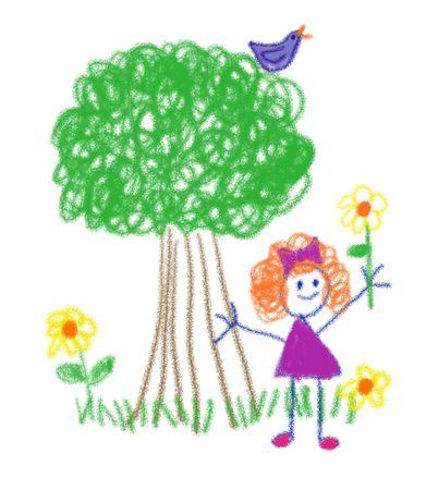 子供のクレヨン画のスタイルで花を保持している小さな女の子の描画 写真素材