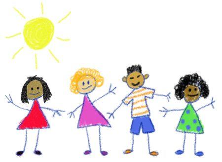 Multiculturele kinderen in de stijl van een kind Waskrijt tekenen Stockfoto
