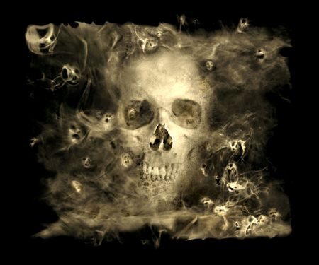 ghosts: Skull With Smoke Demons