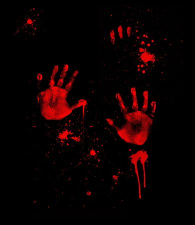 terror: Bloody Hand Prints Stock Photo
