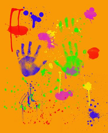 tots: Fingerpainting With Hand Prints and Spatter on Orange Background