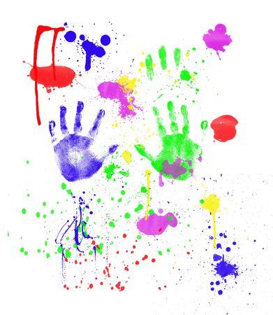 clash: Fingerpainting con impresiones de la mano y salpicaduras aislados en blanco Foto de archivo