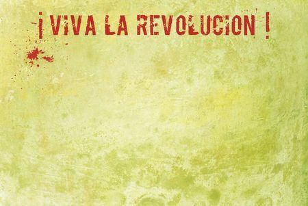 slogan: Lema de la revoluci�n en el muro de estuco de grunge Foto de archivo