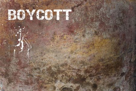 Boycott Sign on Grunge Wall photo
