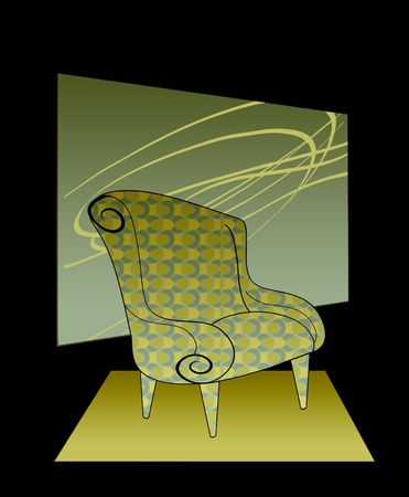 Modern Chair in Aqua  Retro Fabric Isolated on Black Stock Photo - 6774122