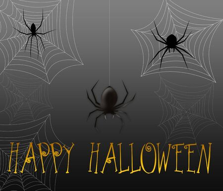 Halloween greeting with black spiders and spider webs