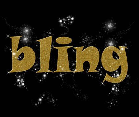 Typografie illustratie van het woord Bling in goud en diamanten