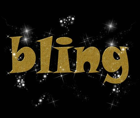 Typography illustration of the word Bling in gold and diamonds