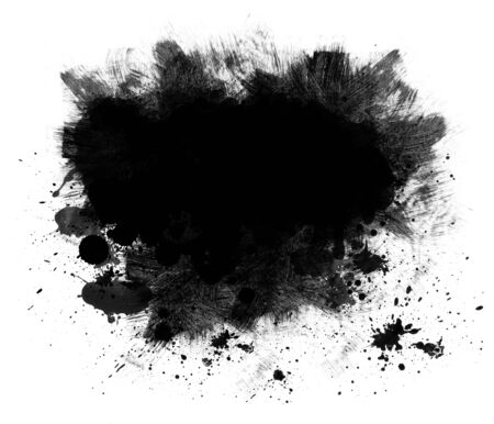Grunge background or copy space of black spatter and brush strokes isolated on white photo