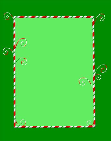 Whimsical Christmas frame of candycanes on green